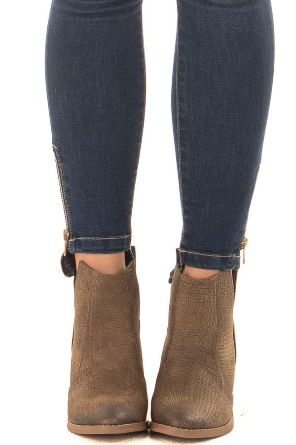 Tan Textured High Heeled Bootie front view