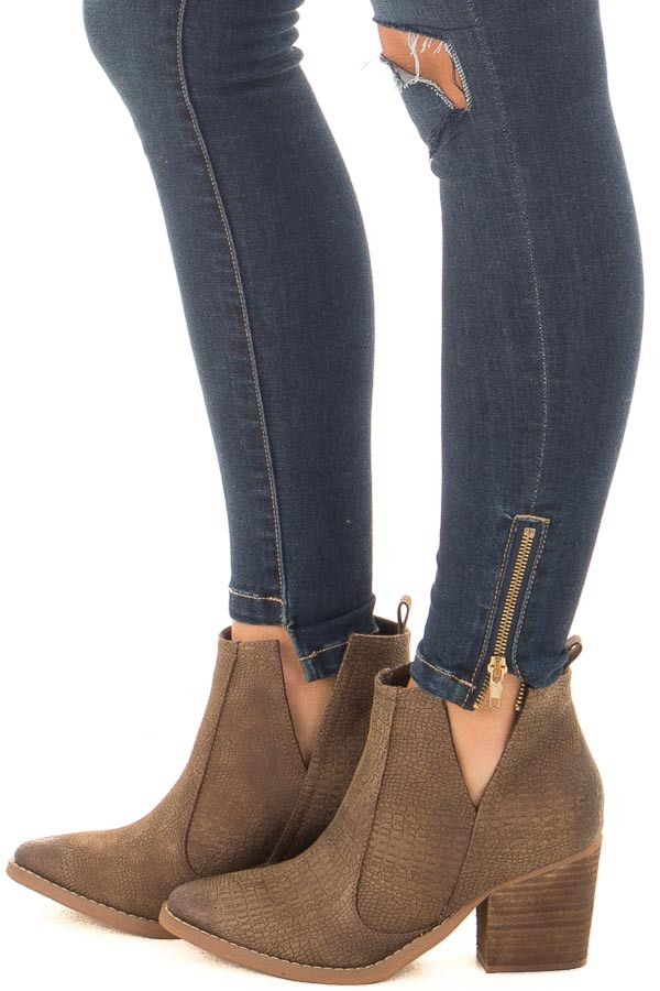 Tan Textured High Heeled Bootie side view