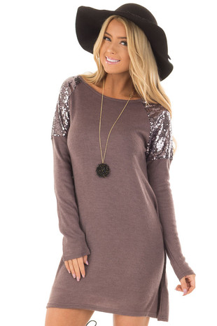 Dusty Lilac Swing Dress with Sequin Shoulders front close up