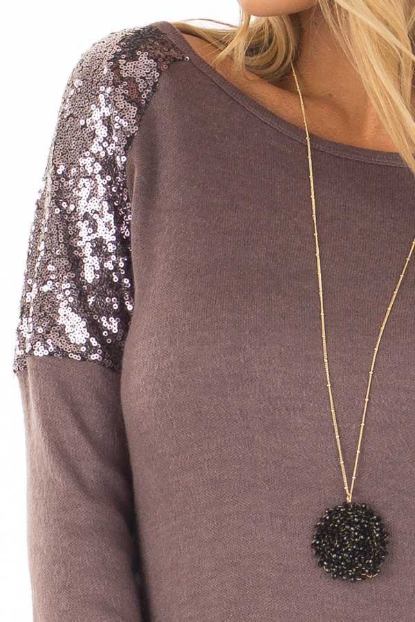 Dusty Lilac Swing Dress with Sequin Shoulders detail