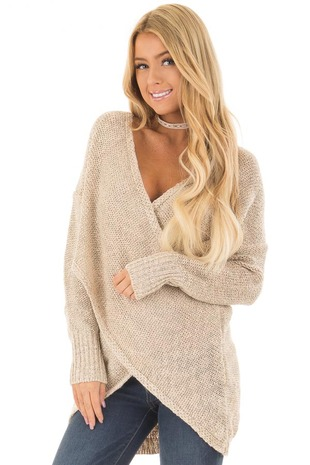 Light Taupe Crossover Drape Long Sleeve Sweater front close up