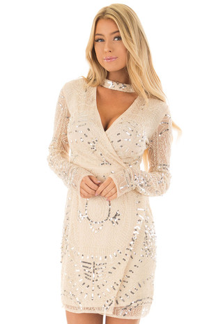 Beige Sequin Choker Band Dress with Sheer Back and Sleeves front close up