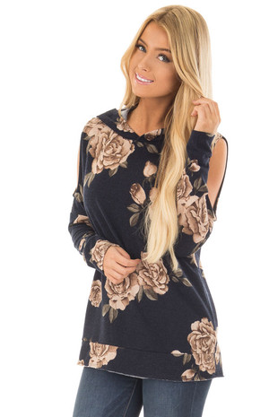 Navy Floral Print Cold Shoulder Hoodie with Raw Hemline front close up