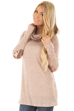 Taupe Top with Gold Sequin Cowl Neck and Elbow Patches front close up