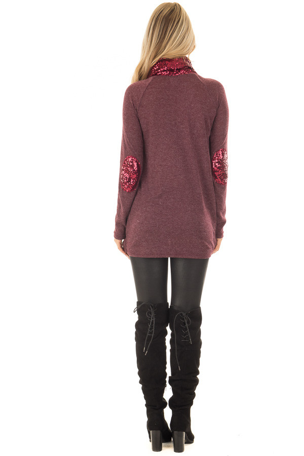 Dark Wine Top with Wine Sequin Cowl Neck and Elbow Patches back full body