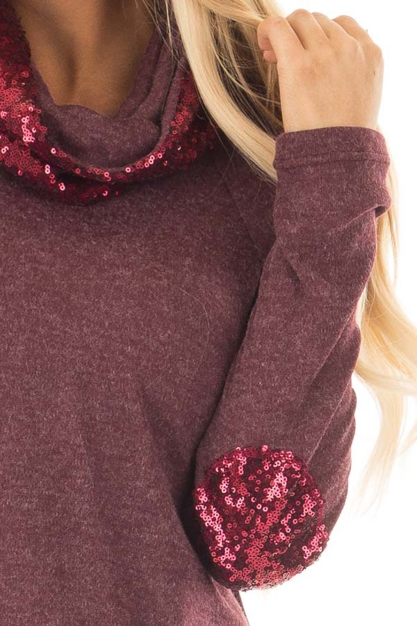 Dark Wine Top with Wine Sequin Cowl Neck and Elbow Patches detail