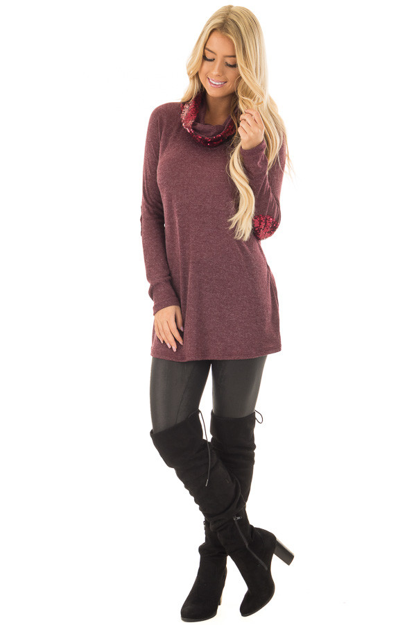 Dark Wine Top with Wine Sequin Cowl Neck and Elbow Patches front full body