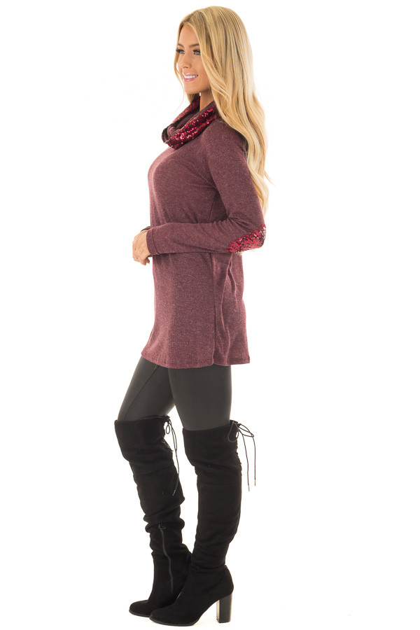 Dark Wine Top with Wine Sequin Cowl Neck and Elbow Patches side full body