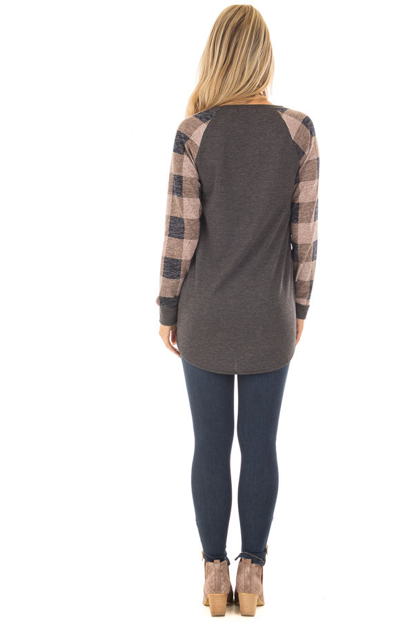 Charcoal Tee with Dusty Pink Plaid Long Sleeves back full body