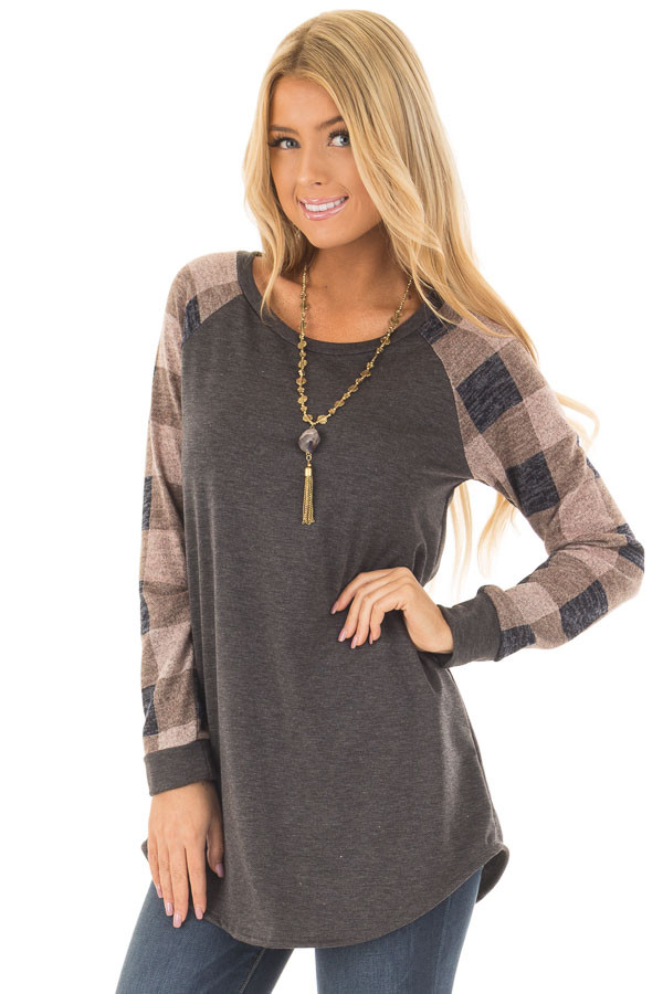 Charcoal Tee with Dusty Pink Plaid Long Sleeves front close up