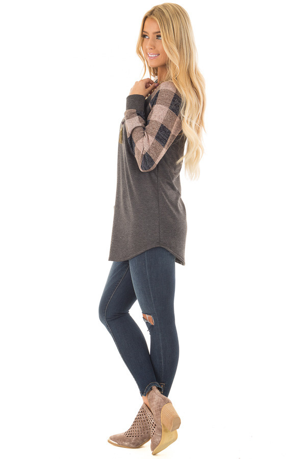 Charcoal Tee with Dusty Pink Plaid Long Sleeves side full body