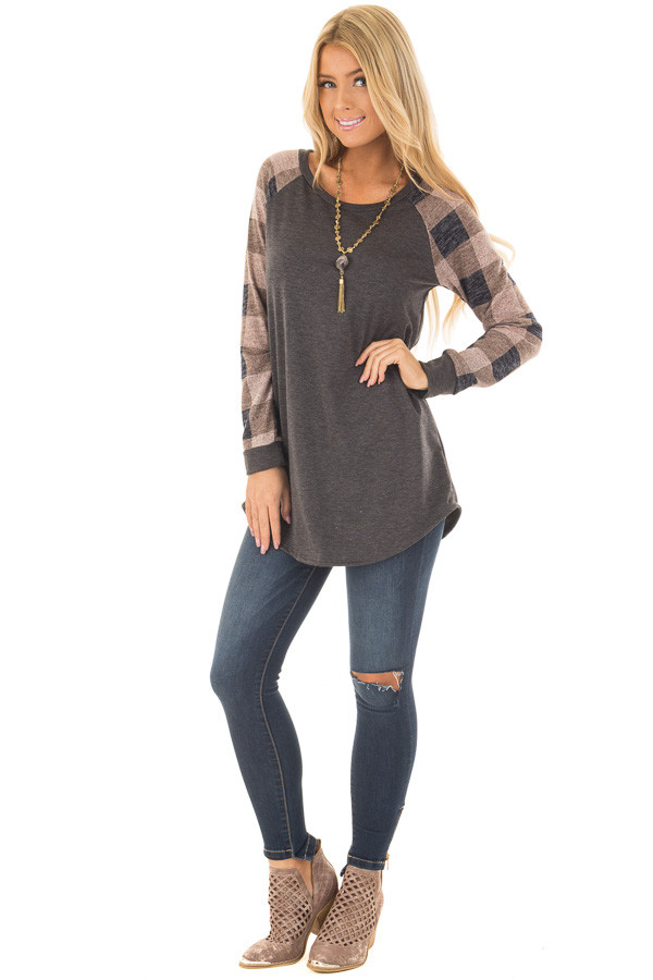 Charcoal Tee with Dusty Pink Plaid Long Sleeves front full body