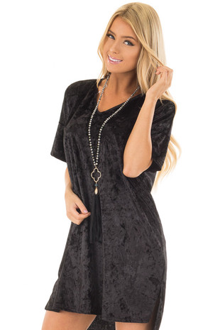 Black Crushed Velvet Oversized Comfy Dress front close up