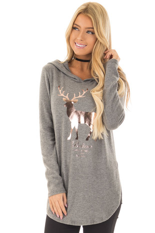 Grey Super Soft Top with Rose Gold Foil 'Believe' Deer Print front close up