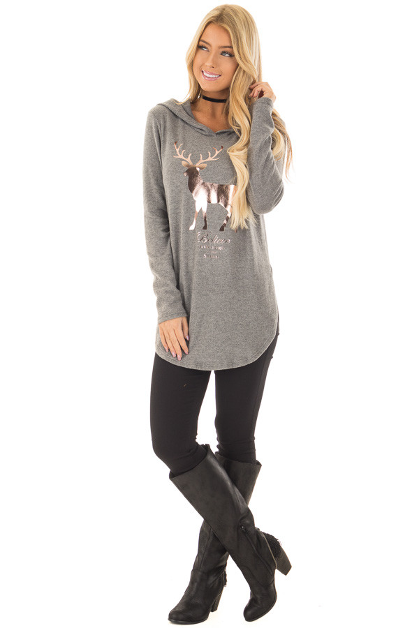 Grey Super Soft Top with Rose Gold Foil 'Believe' Deer Print front full body