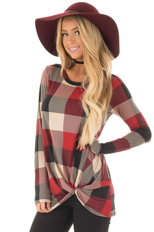 Wine Plaid Soft Long Sleeve Tee Shirt with Twist Detail front close up