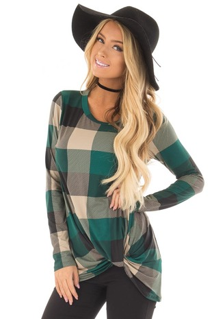 Hunter Green Plaid Soft Tee Shirt with Twist Detail front close up