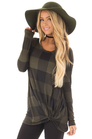 Olive and Black Plaid Soft Tee Shirt with Twist Detail front close up