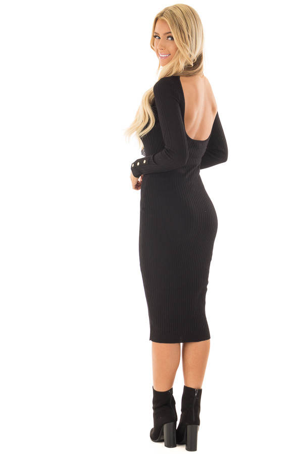 Black Ribbed Bodycon Midi Dress with Open Back back side full body