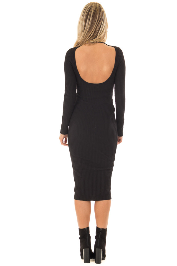 Black Ribbed Bodycon Midi Dress with Open Back back full body