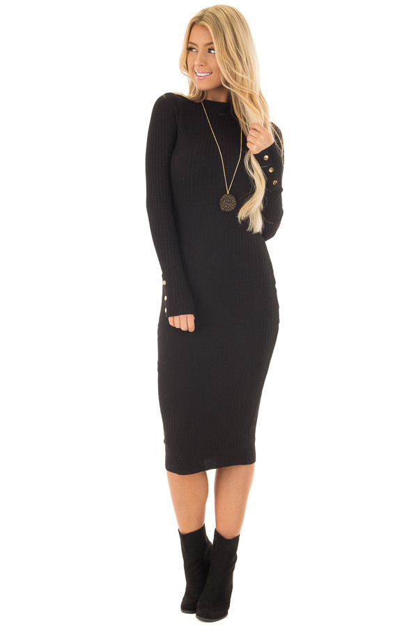Black Ribbed Bodycon Midi Dress with Open Back front full body