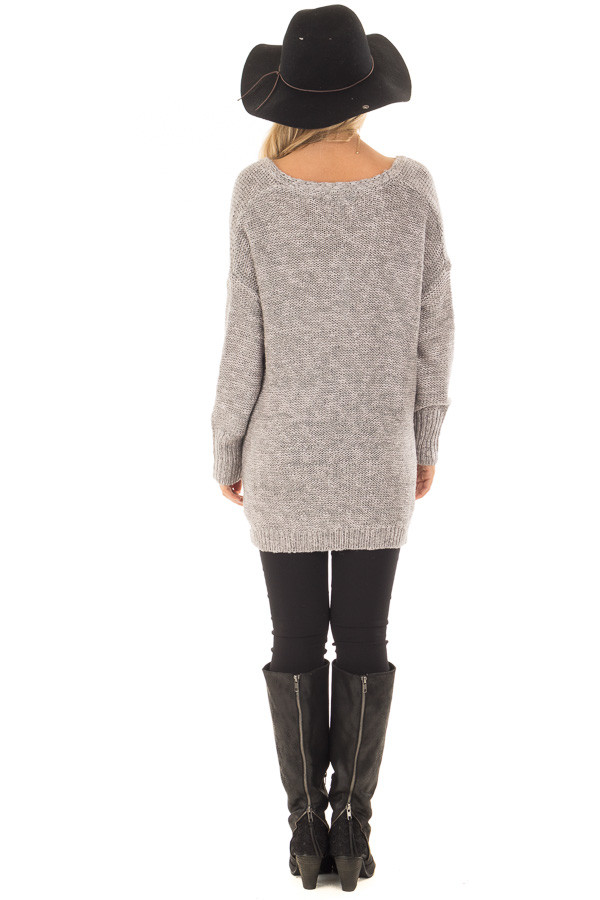 Cloud Grey Crossover Drape Long Sleeve Sweater back full body