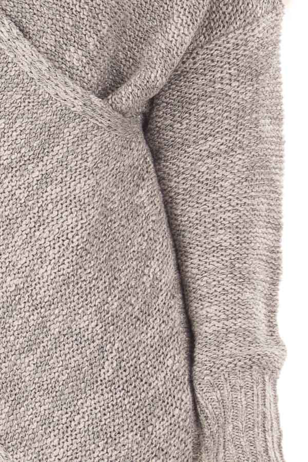 Cloud Grey Crossover Drape Long Sleeve Sweater detail