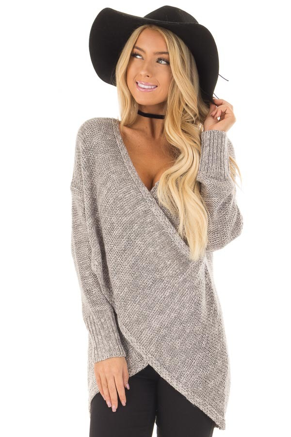 Cloud Grey Crossover Drape Long Sleeve Sweater front close up