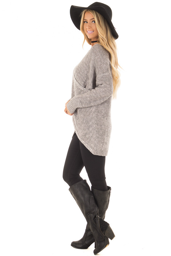 Cloud Grey Crossover Drape Long Sleeve Sweater side full body