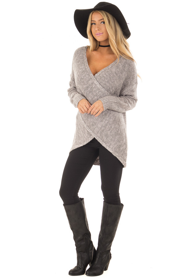 Cloud Grey Crossover Drape Long Sleeve Sweater front full body