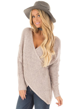 Misty Rose Crossover Drape Long Sleeve Sweater front close up