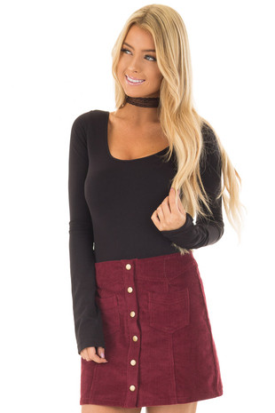 Wine Corduroy Mini Skirt front close up