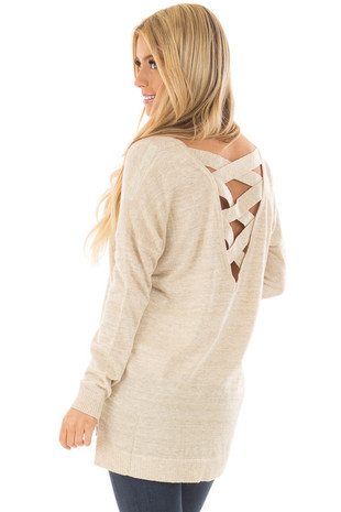 Light Taupe and Gold Shimmer Criss Cross Back Tunic back side close up