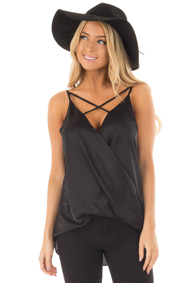 Black Silky Criss Cross Neckline Crossover Drape Tank Top front close up