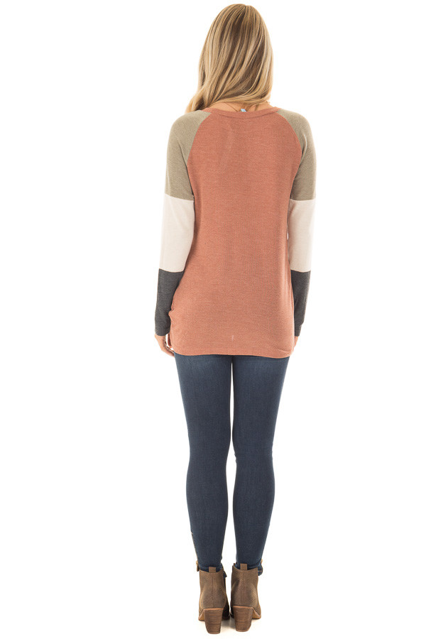 Cinnamon Twist Detail Top with Color Block Raglan Sleeves back full body