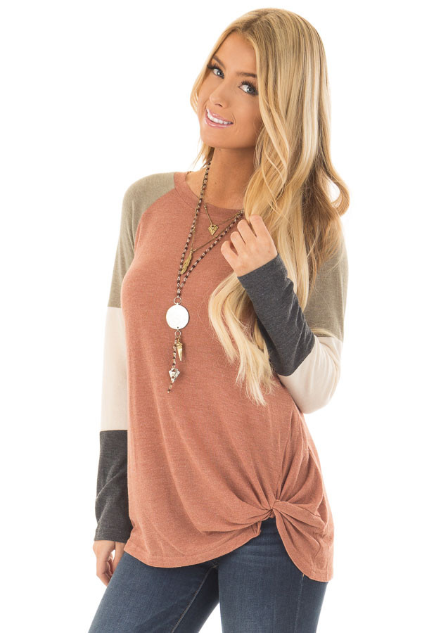 Cinnamon Twist Detail Top with Color Block Raglan Sleeves front close up