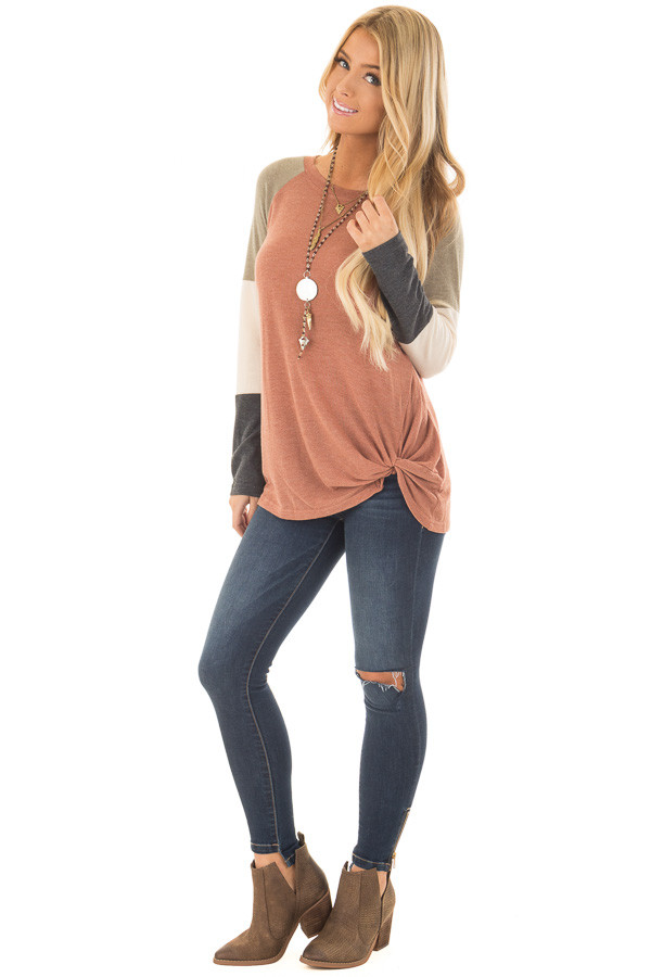 Cinnamon Twist Detail Top with Color Block Raglan Sleeves front full body