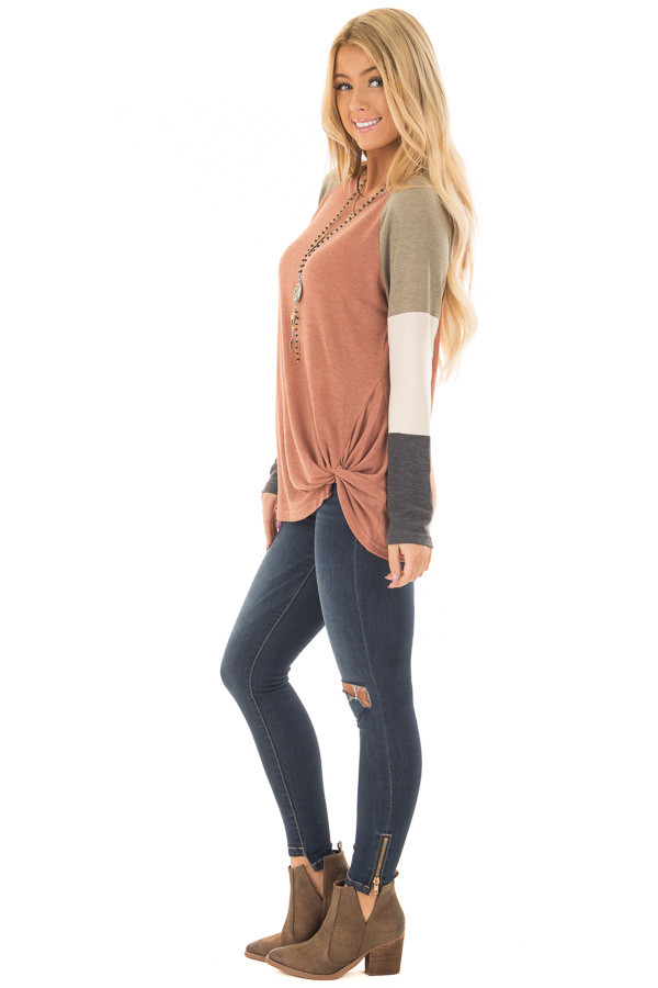 Cinnamon Twist Detail Top with Color Block Raglan Sleeves side full body