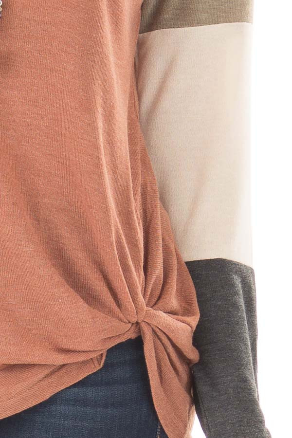 Cinnamon Twist Detail Top with Color Block Raglan Sleeves detail