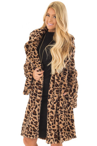 Leopard Plush Faux Fur Long Trumpet Sleeve Jacket front close up