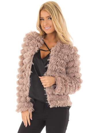 Taupe Faux Fur Jacket front close up