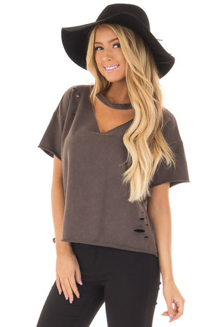 Charcoal Mineral Wash Distressed Tee with Cut Out Neckline front close up