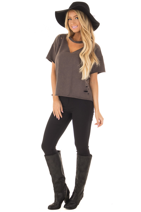 Charcoal Mineral Wash Distressed Tee with Cut Out Neckline front full body