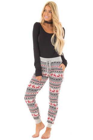 Red Holiday Pattern Jogger Pant with Heather Grey Contrast front full body