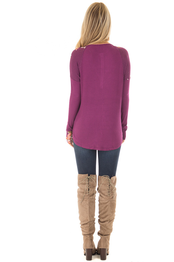 Magenta Henley Top with Floral Contrast Shoulders and Cuffs back full body