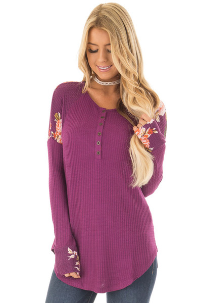 Magenta Henley Top with Floral Contrast Shoulders and Cuffs front close up