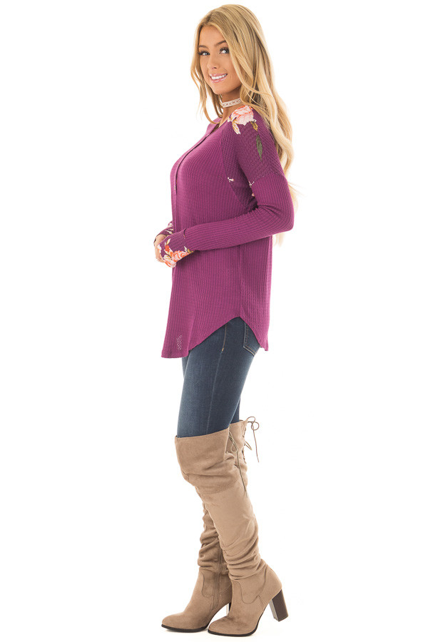 Magenta Henley Top with Floral Contrast Shoulders and Cuffs side full body