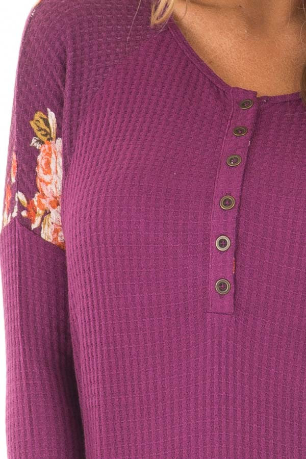 Magenta Henley Top with Floral Contrast Shoulders and Cuffs detail