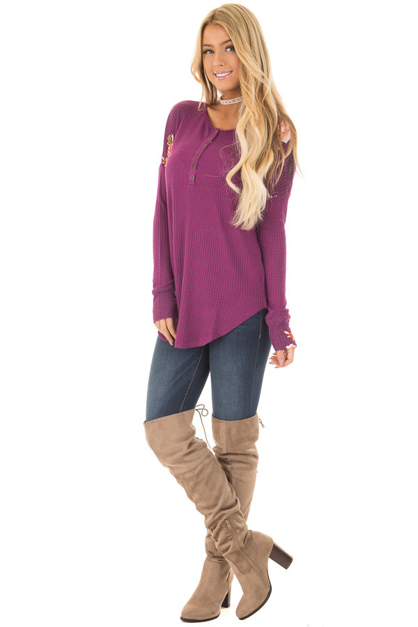 Magenta Henley Top with Floral Contrast Shoulders and Cuffs front full body