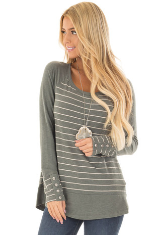 Olive Striped Top with Button Cuffs and Solid Contrast front close up